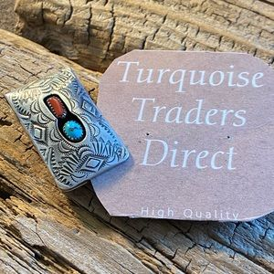 Zuni Turquoise & Coral Sterling Silver Money Clip